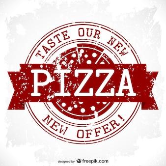Conception timbre vecteur pizza grunge