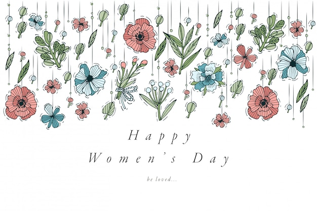 Conception de tirage à la main pour la couleur de la carte de voeux de la journée des femmes. typographie et icône pour le fond du 8 mars, bannières ou affiches et autres imprimables. éléments de conception de vacances de printemps.