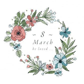 Conception de tirage à la main pour la couleur colorée de la carte de répétition des femmes. typographie et icône pour le fond du 8 mars, bannières ou affiches et autres imprimables. éléments de conception de vacances de printemps.