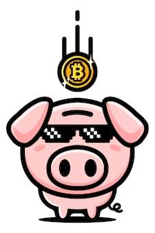Conception de tirelire cochon économisant bitcoin