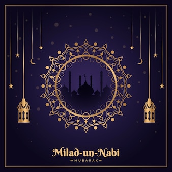 Conception traditionnelle de carte de voeux milad-un-nabi