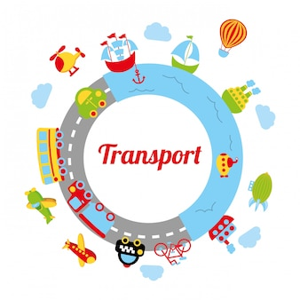Conception de transport sur illustration vectorielle fond blanc