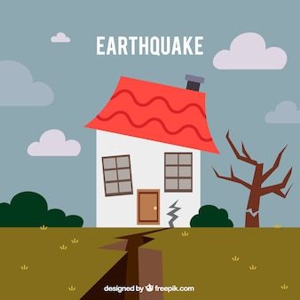 Conception de tremblement de terre dans un style plat