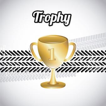 Conception de trophée au cours de l'illustration vectorielle fond gris