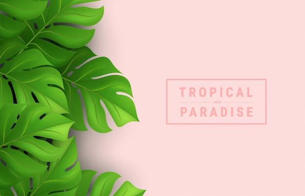 Conception tropicale d'été avec des feuilles de palmier vert sur fond rose et lettrage