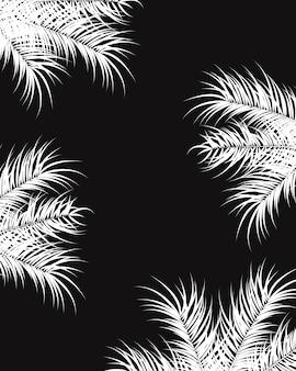Conception tropicale avec des feuilles de palmiers blancs et des plantes sur fond sombre