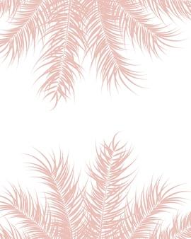 Conception tropicale avec des feuilles de palmiers roses et des plantes sur fond blanc