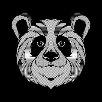 Conception de tshirt art illustration graphique ligne panda animal