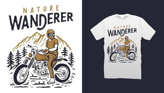 Conception de tshirt aventure de montagne de moto