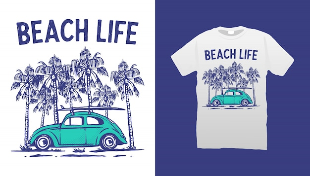 Conception de tshirt beach life