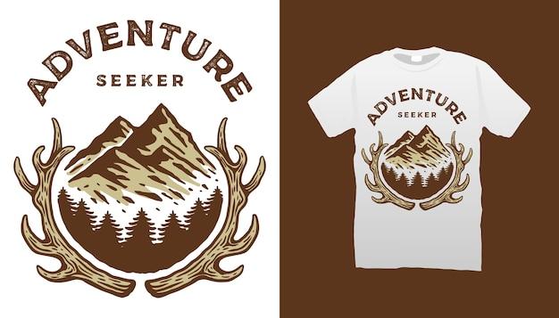 Conception de tshirt de chercheur d'aventure