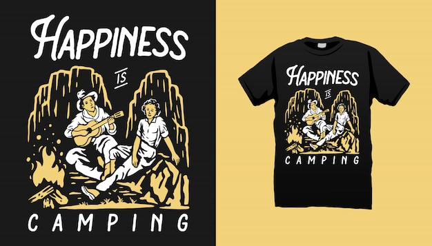 Conception de tshirt couple camping illustration