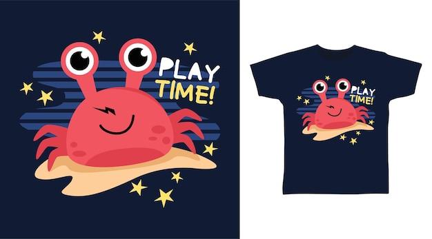 Conception de tshirt crabe rouge mignon