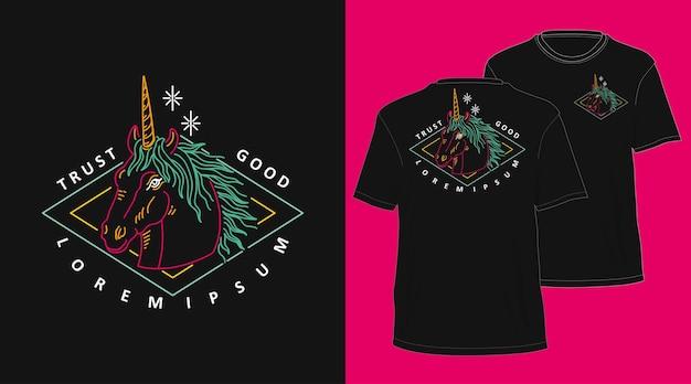 Conception de tshirt dessiné à la main monoline vintage pegasus