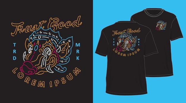 Conception de tshirt dessiné à la main monoline vintage sanglier