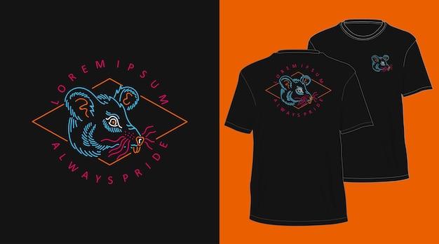 Conception de tshirt dessiné main monoline vintage souris
