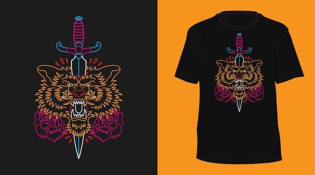 Conception de tshirt dessiné à la main monoline vintage tigre