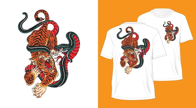 Conception de tshirt dessiné à la main de serpent de combat de tigre