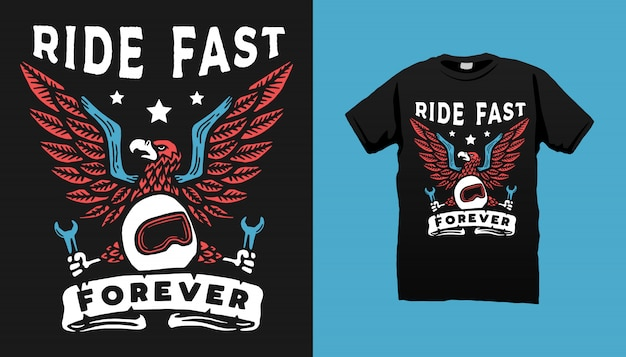 Conception de tshirt eagle moto art