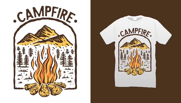 Conception de tshirt de feu de camp