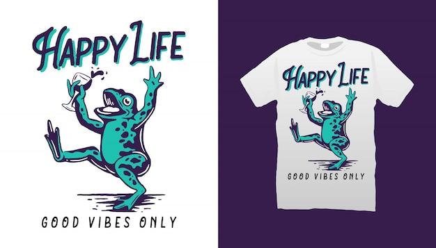Conception De Tshirt Happy Frog Vecteur Premium