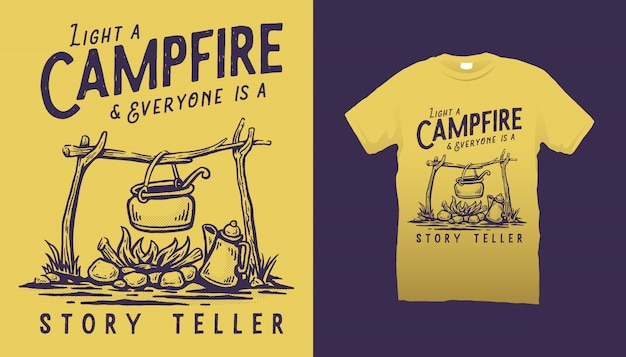 Conception de tshirt illustration feu de camp