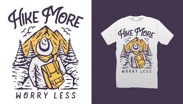 Conception de tshirt illustration de randonnée