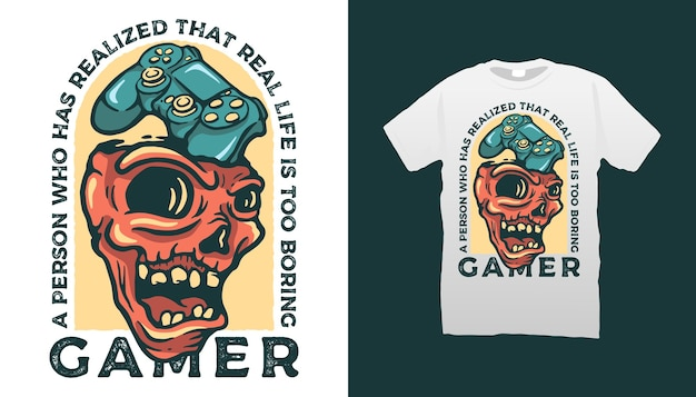 Conception de tshirt de joueur de crâne