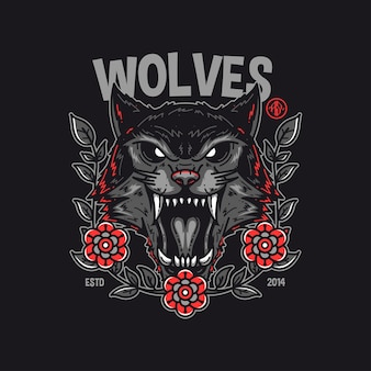 Conception de tshirt loups
