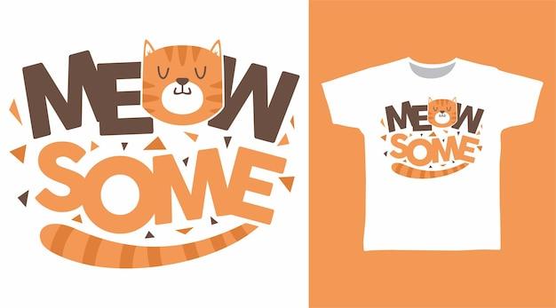 Conception de tshirt miaou typographie chat mignon