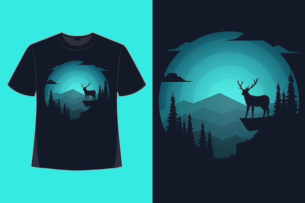 Conception de tshirt de nature cerf montagne paysage bleu couleur rétro vintage illustration