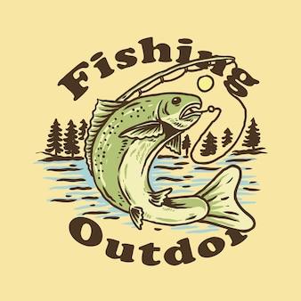 Conception de tshirt de pêche en plein air