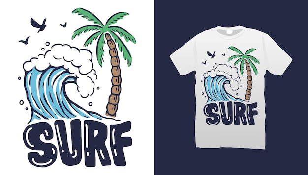 Conception de tshirt de plage de surf