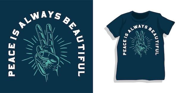 Conception de tshirt signe de main de paix