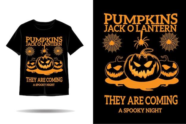 Conception de tshirt silhouette citrouilles d'halloween jack o lantern