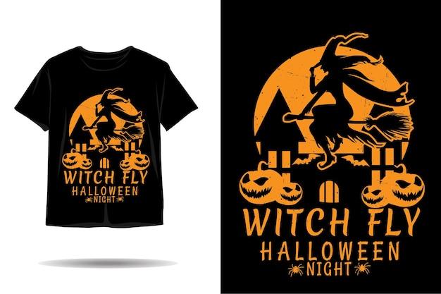Conception de tshirt silhouette halloween sorcière mouche