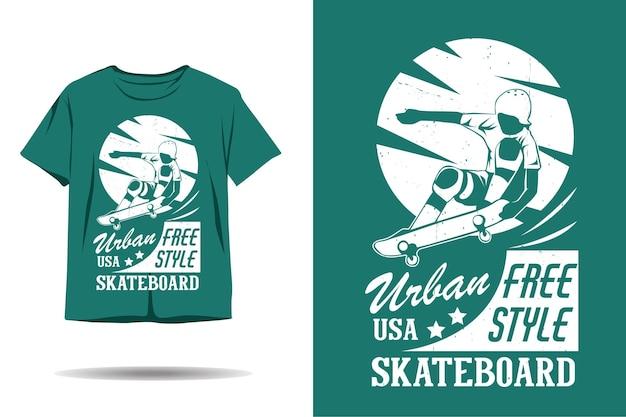 Conception de tshirt silhouette skateboard freestyle urbain