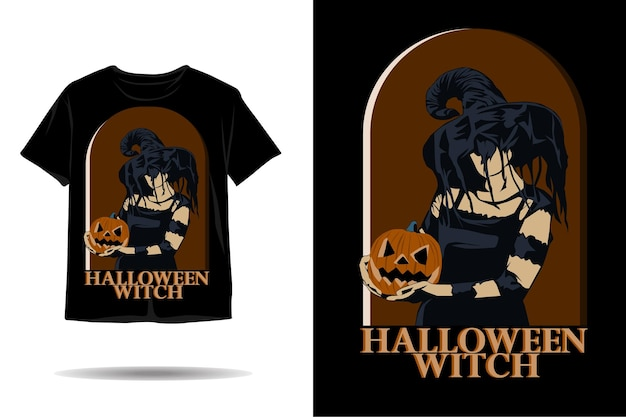Conception de tshirt silhouette sorcière halloween