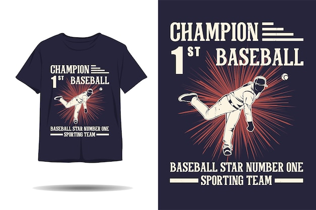 Conception de tshirt de silhouette de star de baseball de l'équipe sportive de baseball de champion