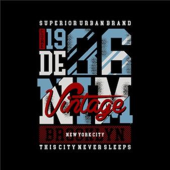 Conception de tshirt de style urbain vintage en denim de brooklyn