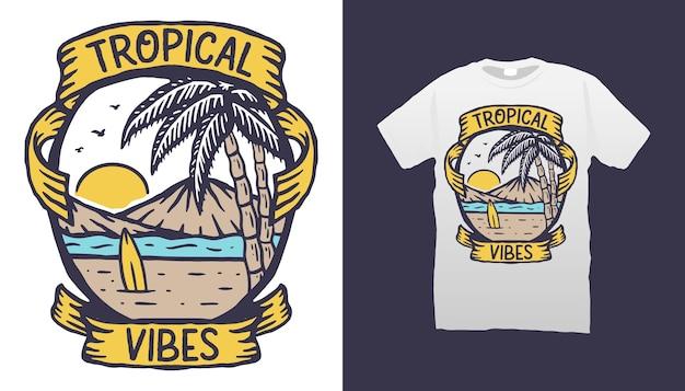 Conception de tshirt tropical vibes