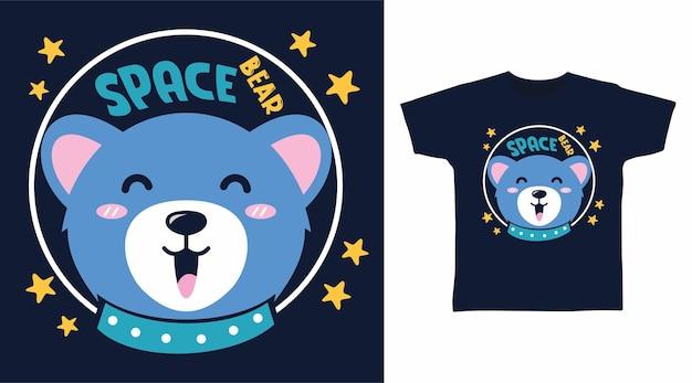 Conception de tshirt typographie ours astronaute mignon