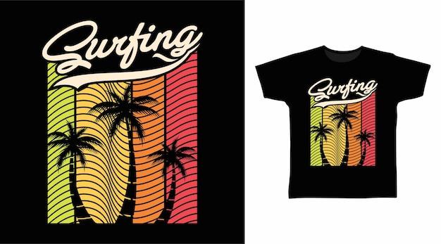Conception de tshirt de typographie de surf