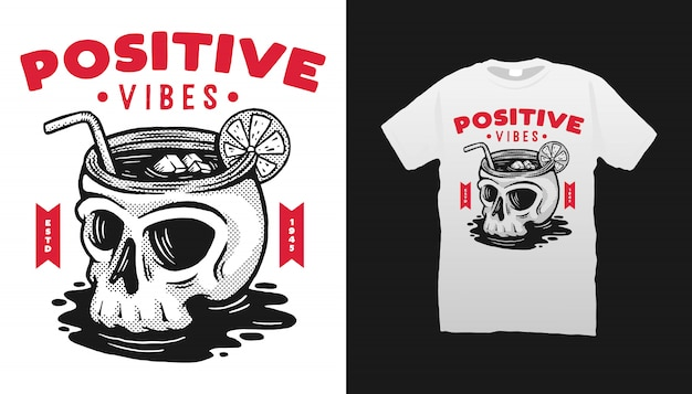 Conception de tshirt vibes positives