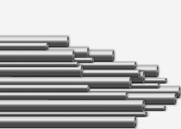 Conception de tuyaux en acier 3d brillant. concept de fabrication de pipelines métalliques industriels. tubes en acier ou en aluminium de différents diamètres isolés sur fond blanc. illustration,.