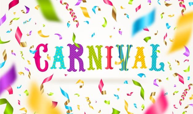 Conception de type carnaval avec des confettis multicolores tombant