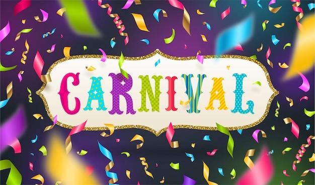 Conception de type carnaval dans un cadre doré pailleté et des confettis multicolores tombant