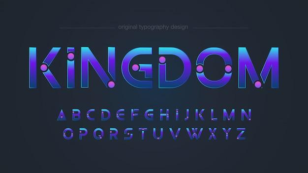 Conception de typographie bleue personnalisée futuriste