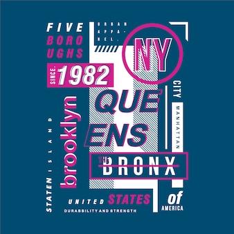 Conception de typographie de cadre de texte brooklyn