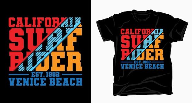 Conception de typographie california surf rider venice beach pour t-shirt